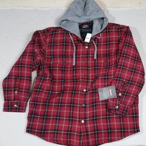 Craftsman Plaid Hooded Flannel Shirt Jacket XL NWT